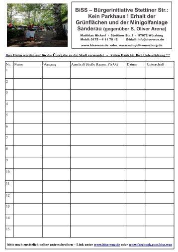 Unterschriftenliste Bürgerinitiative BiSS Minigolfanlage Sanderau