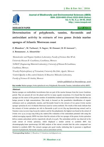 Determination of polyphenols, tannins, flavonoids and antioxidant activity in extracts of two genus Ircinia marine sponges of Atlantic Morrocan coast