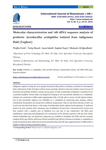 Molecular characterization and 16S rRNA sequence analysis of probiotic lactobacillus acidophilus isolated from indigenous Dahi (Yoghurt)