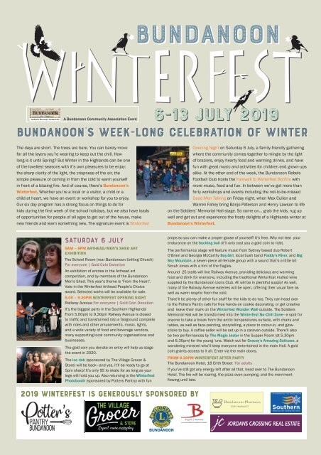 2019 Bundanoon Winterfest Program
