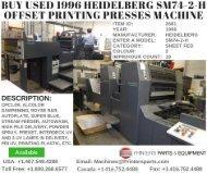 Buy Used 1996 Heidelberg SM74-2-H Offset Printing Presses Machine