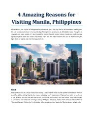 4 Amazing Reasons for Visiting Manila, Philippines