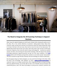 The Need to Integrate the 3D Scanning Technique in Apparel Business