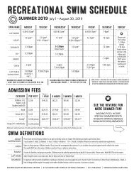 Dovercourt Summer 2019 wading pool and holiday schedule