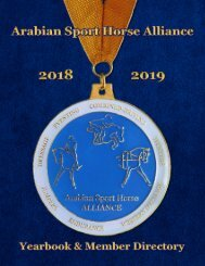 Arabian Sport Horse Alliance 2018-2019 Directory & Yearbook