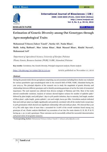 Estimation of Genetic Diversity among Oat Genotypes through Agro-morphological Traits