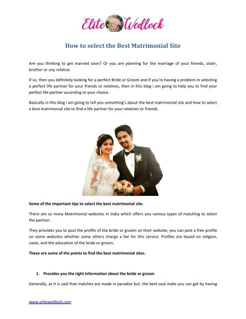 Sites matrimonial Elite Matrimony