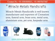 Cremation Urns, Metal Urns, Pet Urns Manufacturers and Exporter in India