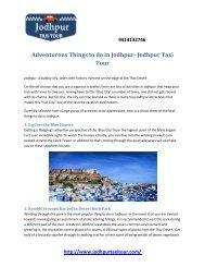 Adventurous Things to do in Jodhpur- Jodhpur Taxi Tour