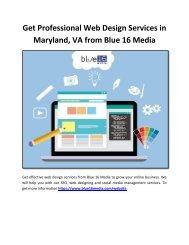 Get Professional Web Design Services in Maryland, VA from Blue 16 Media