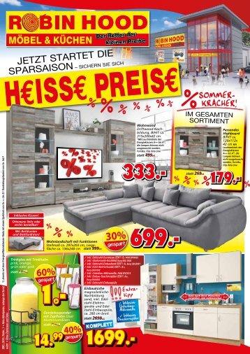 Jetzt startet die Sparsaison - Heisse Preise sichern! Robin Hood - SB-Möbel + Küchen, 78166 Donaueschingen