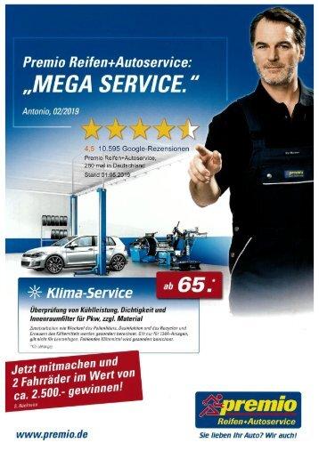 "Premio Reifen+Autoservice: ""Mega Service."""