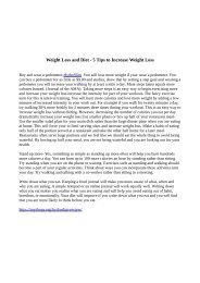 Weight Loss and Diet - 5 Tips to Increase Weight Loss