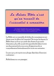 La Sainte Bible n'est qu'un recueil de l'essentiel à connaître