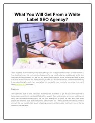 What You Will Get From a White Label SEO Agency