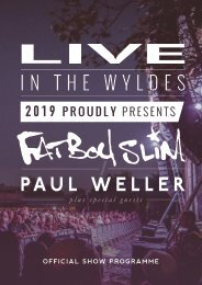 Live in The Wyldes Presents Fatboy Slim/Paul Weller & Special Guests- Official Programme 2019