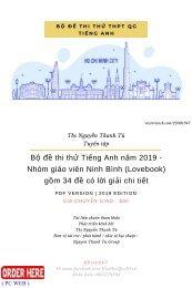 Bộ đề thi thử Tiếng Anh năm 2019 - Nhóm giáo viên Ninh Bình (Lovebook) gồm 34 đề có lời giải chi tiết