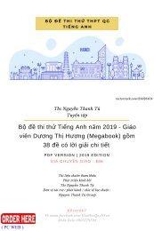 Bộ đề thi thử Tiếng Anh năm 2019 - Giáo viên Dương Thị Hương (Megabook) gồm 38 đề có lời giải chi tiết