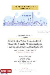 Bộ đề thi thử Tiếng Anh năm 2019 - Giáo viên Nguyễn Phương Website Hoc24h gồm 20 đề có lời giải chi tiết