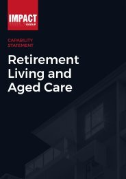 Impact Group Aged Care and Retirement Living Capability Brochure