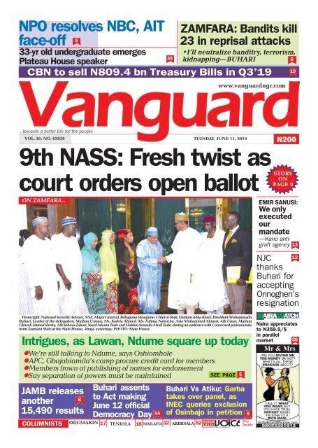 11062019 - 9th NASS: Fresh twist as court orders open ballot