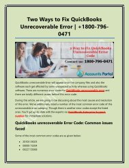 Two Ways to Fix QuickBooks Unrecoverable Error - Learn Here How to