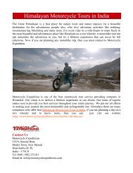 Himalayan Motorcycle Tours in India
