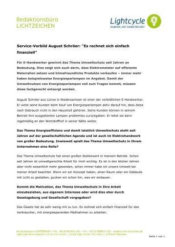 """Service-Vorbild August Schröer: """"Es rechnet sich ... - Lightcycle"""