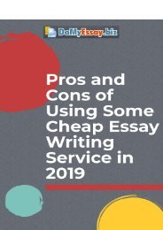 Pros and Cons of Using Some Cheap Essay Writing Service in 2019