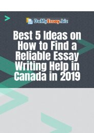 Best 5 Ideas on How to Find a Reliable Essay Writing Help in Canada in 2019