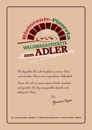 Sommerkarte Waldseegaststätte ADLER Oberachern