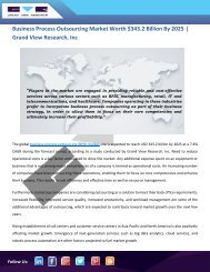 Business Process Outsourcing (BPO) Market Holds Growth Of $343.2 Billion By 2025