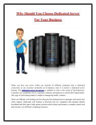 Choose Dedicated Server For Your Business