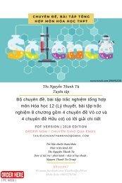Bộ chuyên đề, bài tập trắc nghiệm tổng hợp môn Hóa học 12 (Lý thuyết, bài tập trắc nghiệm 8 chương gồm 4 chuyên đề Vô cơ và 4 chuyên đề Hữu cơ) có lời giải chi tiết