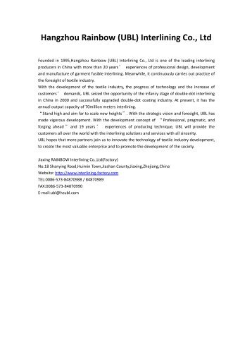 Hangzhou RAINBOW Interlining Co.,Ltd