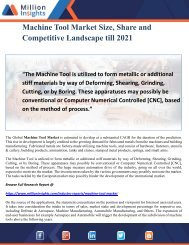 Machine Tool Market Size, Share and Competitive Landscape till 2021