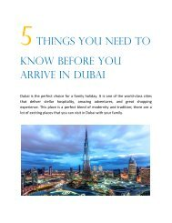 5 Things You Need to Know Before You Arrive in Dubai