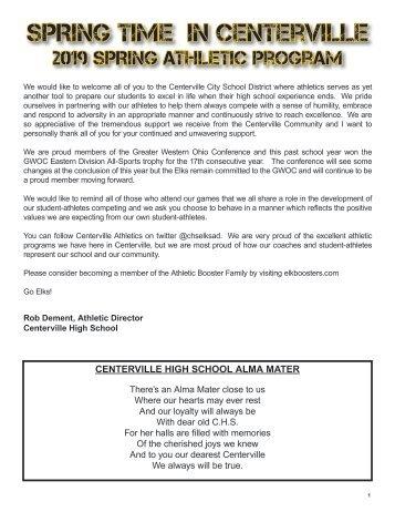 Spring 2019 - Centerville Athletics Program