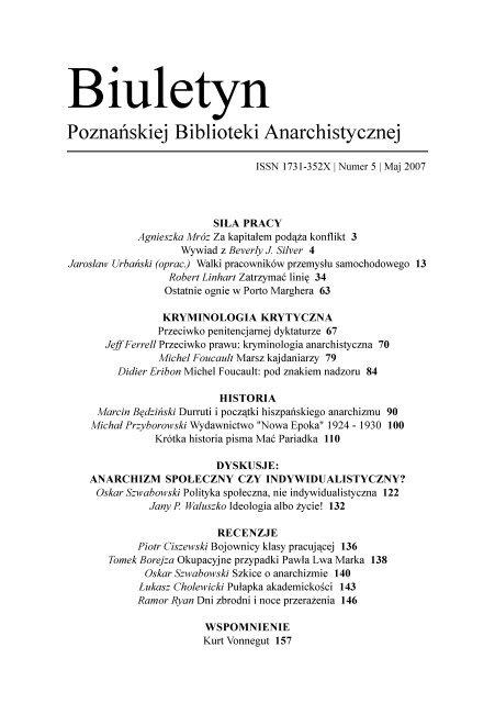 Biuletyn Poznańskiej Biblioteki Anarchistycznej 5