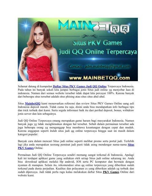 Daftar Situs Pkv Games Judi Qq Online Mainbetqq
