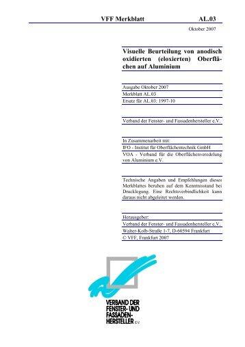 Visuelle Beurteilung von anodisch oxidierten (eloxierten)