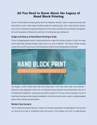 All You Need to Know About the Legacy of Hand Block Printing