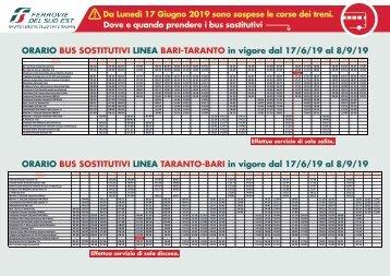A3_QUADRI ORARIO LINEA 1 Bari-Taranto_Taranto-Bari