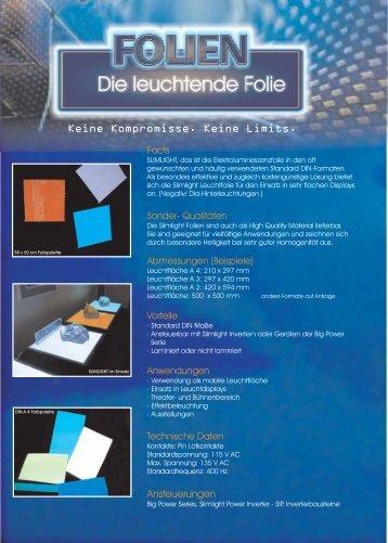 Slimlight Leuchtfolie Katalog