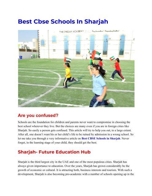 Best Cbse Schools In Sharjah