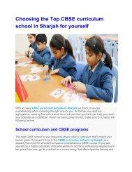 CBSE curriculum school in Sharjah