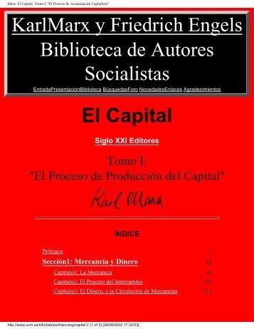 MARX El Capital - Tomo I