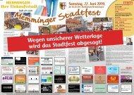 Memminger Stadtfest 2019 abgesagt