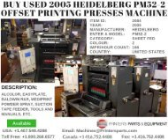 Buy Used 2005 Heidelberg PM52-2 Offset Printing Presses Machine