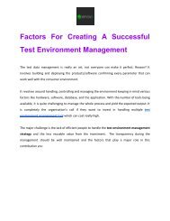 Factors For Creating A Successful Test Environment Management